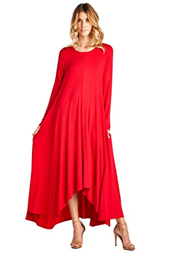 12-ami-solid-long-sleeve-pocket-loose-maxi-dress-red-m