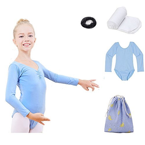 leotard long sleeve by theatricals dance costume ballet girls bodysuit for dance girl teens(blue, XL)