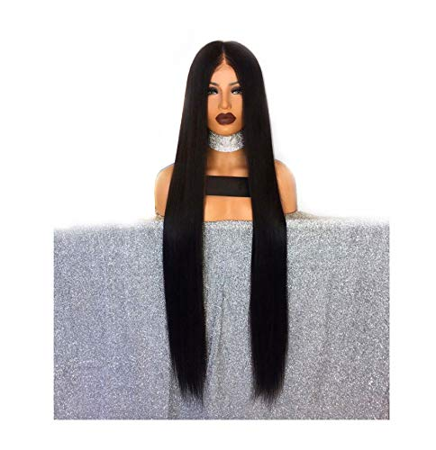 (30 Inch Long Lace Front Human Hair Wigs Straight Pre Plucked With Baby Hair Natural Color Peruvian Remy Lace Front Wig For Women,18inches )