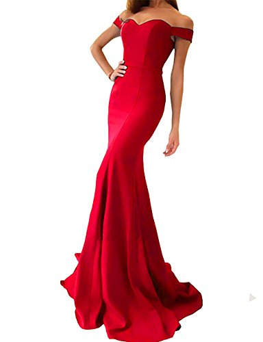Silhouette Gown Prom Mermaid (Yinyyinhs Women's Off The Shoulder Mermaid Evening Dresses Long Prom Gowns Size 2 Red)