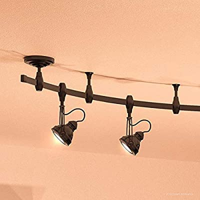 "Luxury Modern Track Light, 11.5""H x 108""L, with Industrial Style Elements, Estate Bronze Finish, UQL3010 from The Perth Collection by Urban Ambiance"