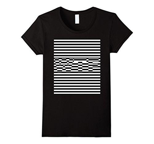 Halloween Illusion (Womens Trippy Striped WTF Optical Illusion Design Shirt Halloween Small Black)