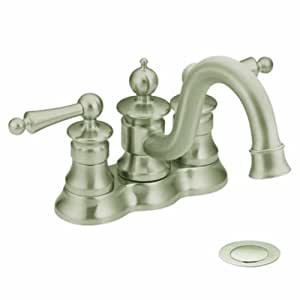 Moen Showhouse CAS412BN Waterhill two-handle high arc bathroom faucet, Brushe...