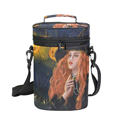 Mr.XZY Halloween Witch Girl In Forest Magic Pumpkin Lantern Night Firefly Insulated Wine Carrier Bag - 2 Bottle Travel Wine Carrying Cooler Tote with Handle and Shoulder Strap 2010096