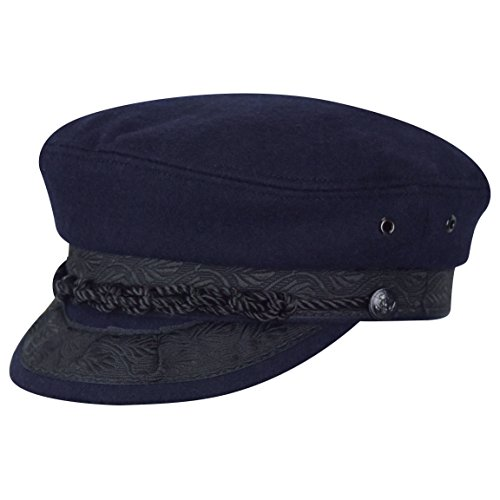 (Country Gentleman Men's Wool Greek Fisherman Cap HAT, Navy, 7)