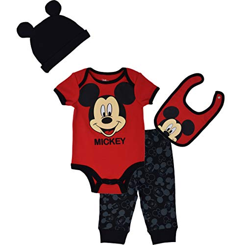 Disney Mickey Mouse Baby Boys Bodysuit Pants Bib Hat Layette Set Red 3-6 Months (Mickey Outfits Knit Baby)