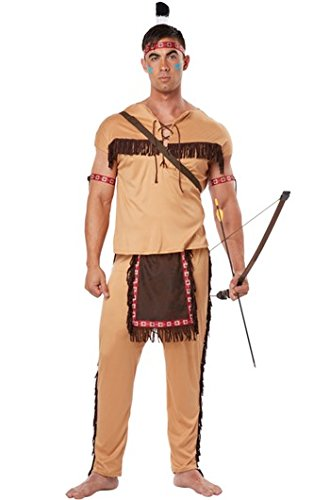 [California Costumes Men's Native American Brave Adult, Tan/Brown, Large] (Male Indian Chief Costume)