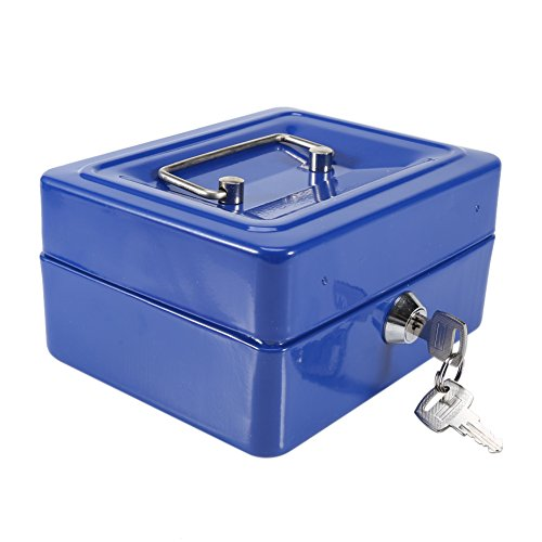Yosoo Mini Safe Security Box Household Portable Steel Lockable Cash Money Box (Blue) by Yosoo