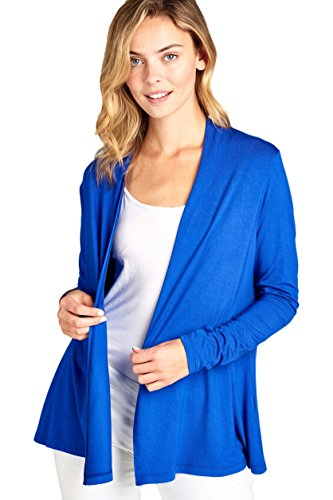 ReneeC. Women's Extra Soft Natural Bamboo Open Front Cardigan – Made in USA (X-Large, Royal Blue)