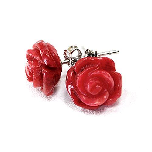 Ny6design Red Coral Carved Rose Sterling Silver Stud Earring (ER252) a ()