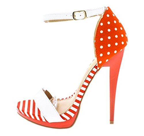 Polka Dot Ankle Strap (5 Inch High Heel Sandal Stiletto Orange White For Women Size 7 Striped Polka Dot Platform Pump)