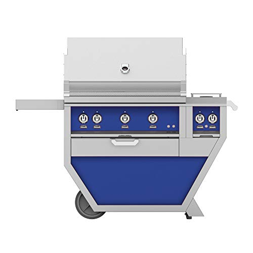 Hestan GMBR36CX2-NG-BU 119000 BTU 36 Inch Wide Natural Gas Free Standing Grill with Trellis Burner System Infrared Sear Burners and Rotisserie from The Outdoor Series