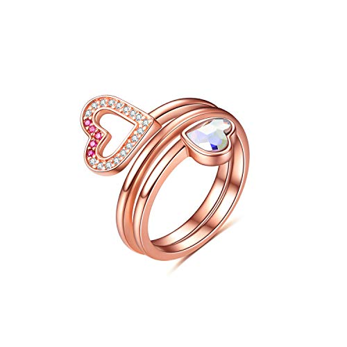 AOBOCO Sterling Silver Heart Adjustable Rings Open Wrap Ring with Swarovski Crystal,Fine Jewelry Gift for Women - Eternal Jewelry Sparkles