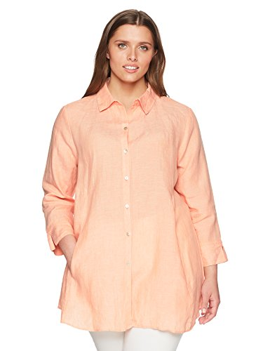 - Foxcroft Women's Plus-Size Cici Solid Chambray Linen Tunic, Shell Coral, 24W