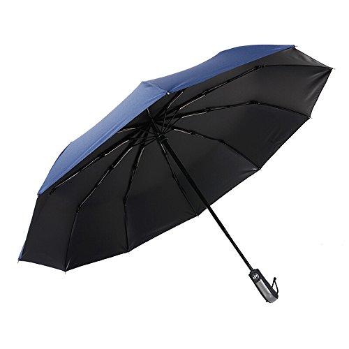 Sombrilla plegable automtica para hombre de negocios Aumentar paraguas de doble uso a prueba de viento (Color : Blue)