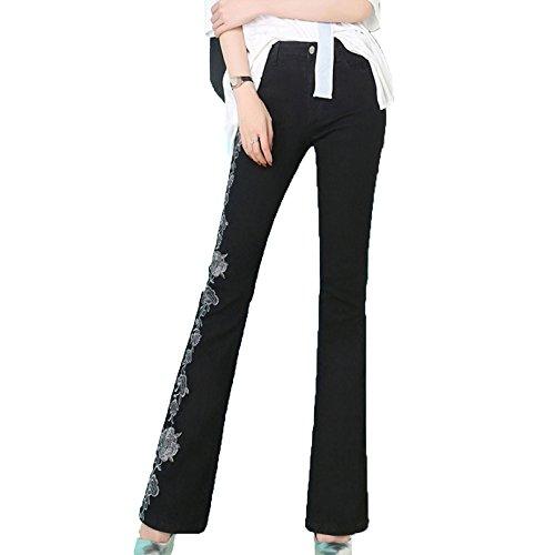 Black Pantaloni Jeans Da Donna In Denim Alta Con Ricamati Vita Lunghi A XIznzraP