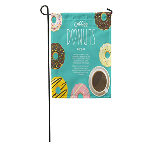 (Semtomn Garden Flag Cup of Coffee Hot Chocolate and Donuts Around Sweet Icing Home Yard House Decor Barnner Outdoor Stand 12x18 Inches Flag)