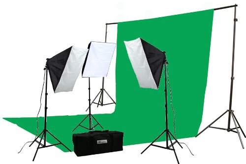 Ephoto Photography Video - ePhoto 2400 Watt Continuous Video Photography Studio Chromakey Green Screen Lighting Kit H9004S3-1020G