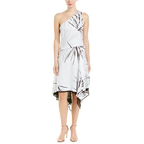Halston Heritage Women's One Shoulder Dress With Draped Skirt, chalk Graphic Burst Print, Large