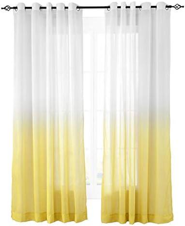ChadMade Indoor Outdoor Gradient Ombre Sheer Curtain Nickel Grommet Yellow 150″ W X 102″ L