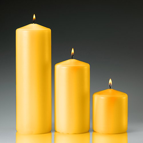 Yellow Citronella Scented Pillar Candles Set of 3, 3x3 3x6 3x9 Made in USA ()