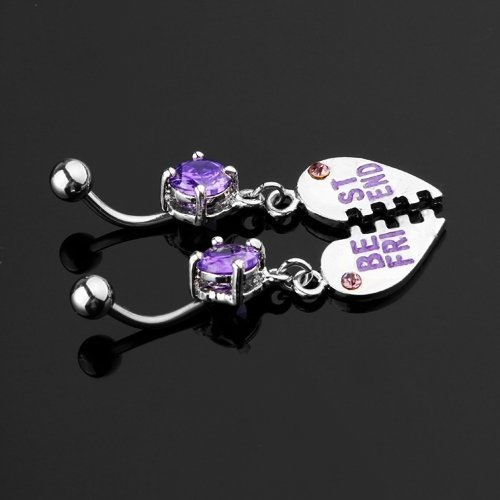 SODIAL(R) Pair Purple Crystal Belly Navel Bar Ring Body Piercing
