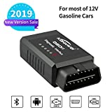 Car OBD2 Bluetooth Scanner, OBD OBD2 CAN Code Reader Adapter Car Wireless OBDII Diagnostic Scan Tool with Check Engine Light, Compatible with Torque DashCommand for Android
