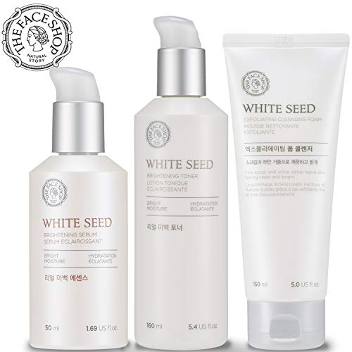 ([THEFACESHOP] Korean Skin Care Set - Toner, Serum, and Cleansing Foam Brightening White Seed Gift Set)