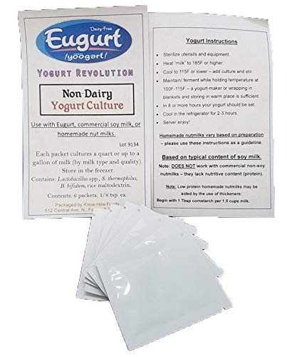 Non-Dairy Yogurt Culture (3-6 gallons) - For Use With Homemade Dairy-Free Nutmilks or Commercial Soy Milk
