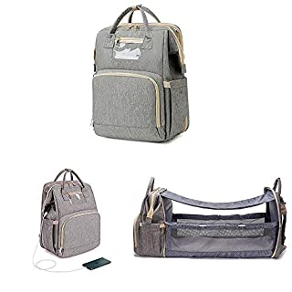 3 in 1 Baby Travel Foldable Bed Diaper Bag Backpack Portable Diaper Changing Station with USB Charge (Upgraded Gray)