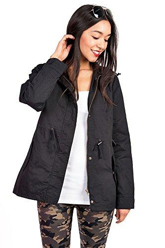 Review Pink Ice Women's Trendy Cargo Style Hoodie Jacket (Medium, Black)