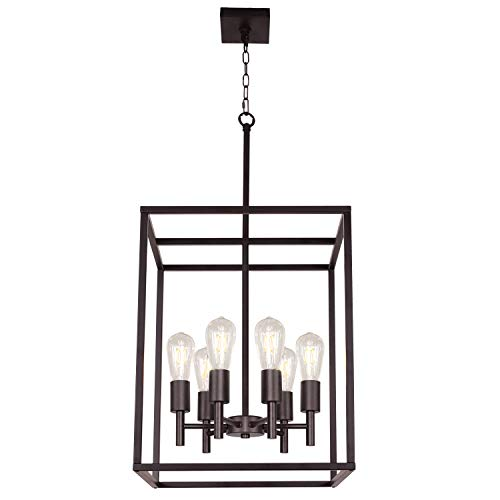 Six Light Foyer Lamp - TODOLUZ 16Inches Large Foyer Ceiling Light 6 Light Hanging Lamp Oil-Rubbed Bronze Industrial Farmhouse Pendant Lighting with Square Cage Shades for Dinging Room Kitchen Entryway
