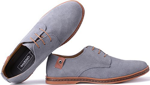 Marino Suede Oxford Dress Shoes for Men – Business Casual Shoes – Classic Tuxedo Men's Shoes – Light Gray- 10.5 D(M) US