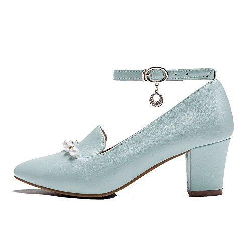 Chaussures Bleu Pompes Voguezone009 Pu Orteils Fermée Talons Chaton Boucle Femmes Solide fw4OqRn