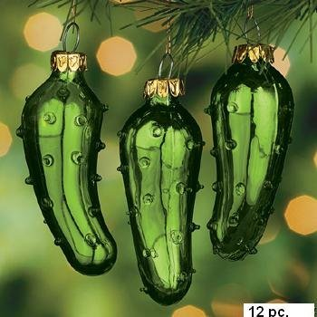 (12) One Dozen Hand Blown Glass Pickle Christmas Tree Ornaments for Good Luck Trim-A-Tree Stocking Stuffer or Gift Giving (Pickle Small Ornament)