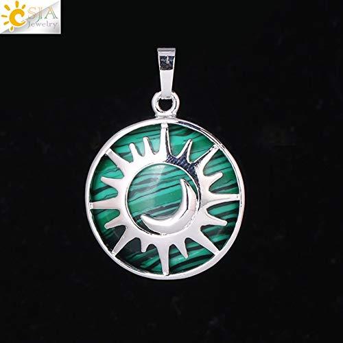 Sun & Moon Pendant | Healing Natural Stone Purple White Crystal Quartz Beads for Making Necklace Women Men