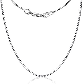 Toberto 0.8mm Box Lobster Claw Clasp Collarbone 925 Sterling Silver Chain