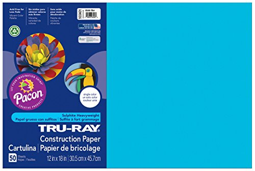 """Pacon Tru-Ray Construction Paper, 12"""" x 18"""", 50-Count, Atomic Blue (103401)"""