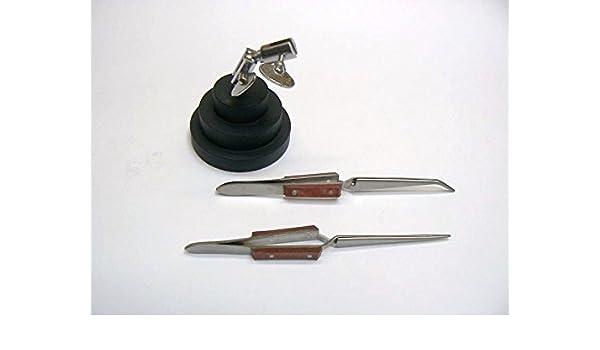 Third Hand Round Base with Cross Locking Stainless Steel Soldering Tweezer with Fiber Handle 6 1//2