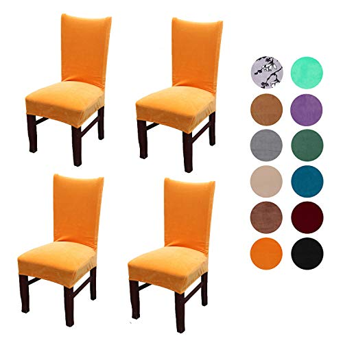 (Velvet Spandex Stretch Dining Room Chair Cover, Removable Chair Slipcovers Set of 4(orange))