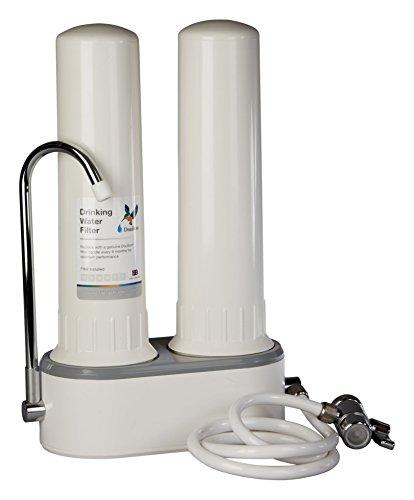 Doulton HCP Double W9380003, Filtro purificador de agua, doble, sobre encimera, de plastico de calidad alimentaria, color blanco