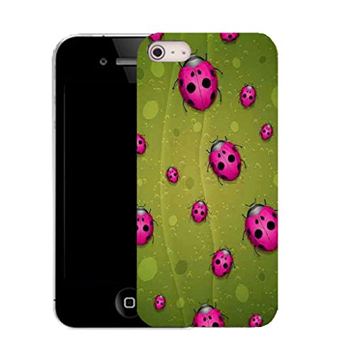 Mobile Case Mate IPhone 4s clip on Silicone Coque couverture case cover Pare-chocs + STYLET - pink ladybird pattern (SILICON)