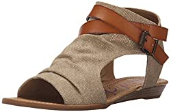 Blowfish Women's Balla Wedge Sandal, Desert Sand Rancher Canvasdyecut, 8.5 Medium Us