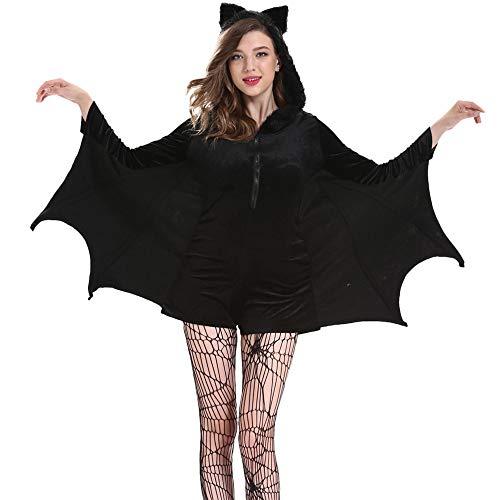 LOKODO Women's Cozy Black Bat Halloween Costume Bat Wing Sleeves T Shirt Tops Tees Halloween Cape Black XL