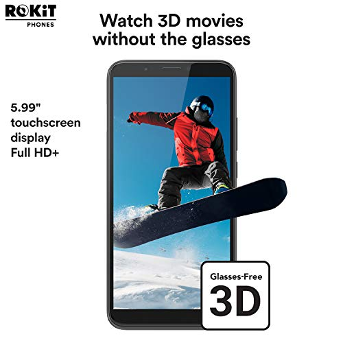 "ROKiT iO Pro 3D Android Phone - 5.99"" GSM Unlocked Smartphone - 4G LTE Dual Nano Sim Cell Phone w/ 64GB Memory & 13MP Camera + 2MP Camera (Black)"