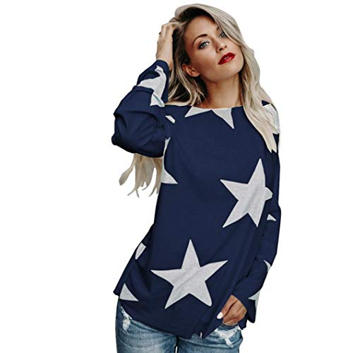 Womens Autumn Tops Star Print Long Sleeve Loose Casual Tee T-Shirt Daily Comfort Blouse Navy