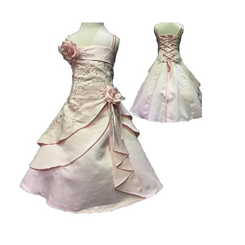 Girls'Flower Party Wedding Gown Bridesmaid Dress Silk Beading and embroider Unique Gorgeous (160) ()