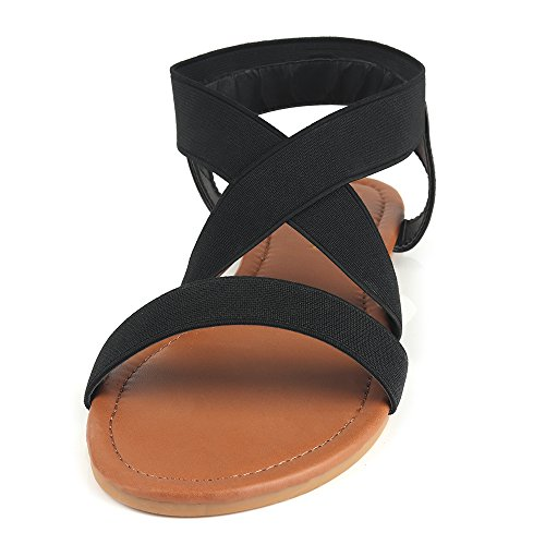 MuDan Women's Elastic Flat Sandals (8 B (M) US, Black-a) by MuDan (Image #2)