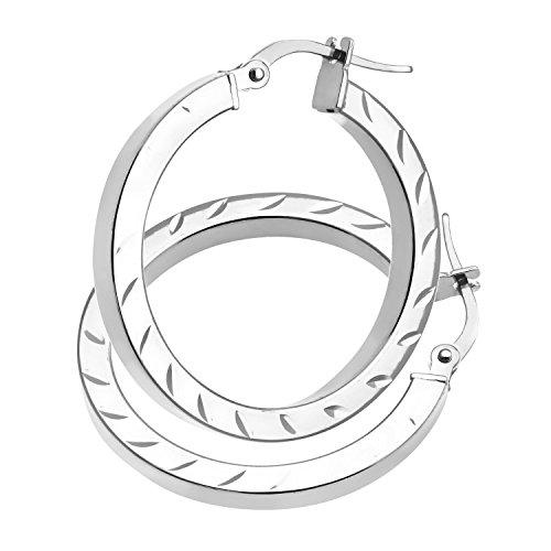 Revoni Bague en or blanc 9carats-Côté Tube Carré Coupe Diamant Boucles d'oreilles créoles