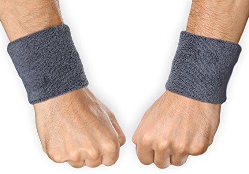 Sports Wristbands - Wrist Sweatbands for Athletics - Fits Men & Women - Ideal for Baseball, Tennis, Basketball, Football, Running & Working Out - Sweat Absorbing Cotton Terry Bands - 1 Pair ()